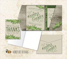RUSTIC NATURAL Wedding Invitation Set - Wood and Greens Invite, RSVP Postcard, Pocket Folder Envelope and Thank You - Printable Digital File