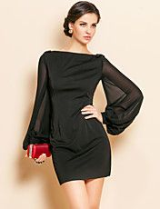 TS Simplicity Beads Lantern Sleeve Jersey Sheath Dress