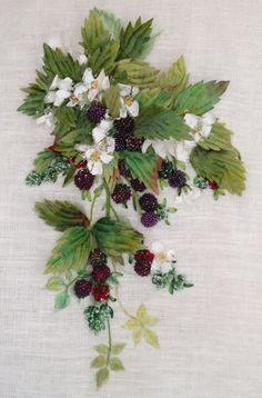 Bountiful Blackberries Ribbon Embroidery by SilkRibbonCreative