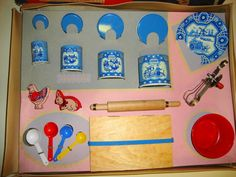 "1948 Pastry Set Vintage ToyPastry Set by Wolverine Toy Co. Blue Delft Dutch Design Tin Litho Canister Set - and all parts are Pristine Condition. No scratches, no rust.   Tallest Canister  measures 3"" tall. The 2 Cookie Cutters are also tin litho. Rolling pin & board are wood"