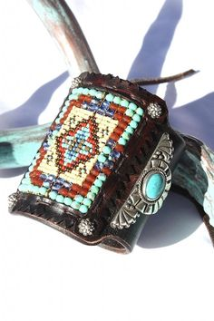 Heirloom Quality Chili Rose Navajo Sterling & Seedbead Bow Guard Cuff from Cowgirl Kim