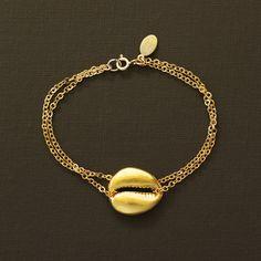 Gold Cowrie Shell Bracelet by NinaKuna on Etsy