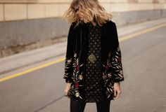 Mango embroided velvet jacket  Via mydailystyle blog