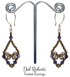 Free beaded earrings patterns make it easy to have an entire wardrobe of hoop and dangle earrings. Any kind of beads can be used to make beaded earring patterns. Beaded Earrings Patterns, Jewelry Patterns, Bead Earrings, Beaded Jewelry, Handmade Jewelry, Bead Patterns, Weaving Patterns, Jewellery, Jewelry Making Tutorials