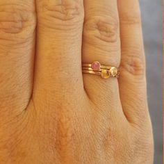 Birthstone Stacking Ring Gemstone Ring Mothers Ring Gold | Etsy Birthstone Stacking Rings, Multiple Rings, Mother Rings, Pink Tourmaline, Blue Sapphire, Band Rings, Birthstones, Natural Gemstones, Mothers