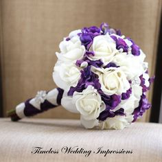 Silk Bouquet Purple Wedding Bridal Roses Hydrangea Real Touch Flowers TREASURED by Feathered Creek Designs & featured here:  www.etsy.com/treasury/NDIxNjQxMzB8MjcyMzQwMDM4Nw/spring-weddings