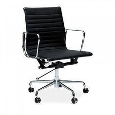 Turquoise short back ribbed Eames style Office Chair. Cult Furniture offers a colourful variations Eames Office Chairs as Next Day Delivery within the UK.