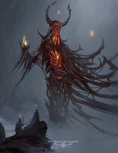 Beelzebub – horror character concept by Ramses Melendez Fantasy Demon, Fantasy Monster, Monster Art, Dark Fantasy Art, Plant Monster, Dark Creatures, Magical Creatures, Fantasy Creatures, Creature Concept Art