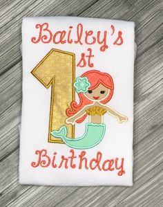 A personal favorite from my Etsy shop https://www.etsy.com/listing/263802727/mermaid-first-birthday-personalized
