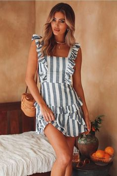 Sexy Lace Suspender Striped Tied Dress – jollyluva a line casual dress casual a line dress cute prom dresses dress layering cute homecoming dresses a line mini dress gowns Sexy Dresses, Cute Dresses, Casual Dresses, Girls Dresses, Cute Outfits, Summer Dresses, Mini Dresses, Casual Outfits, Floral Dresses