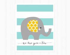 Elephant Art Print Nursery Art Print Quote We by MooseberryPaperCo