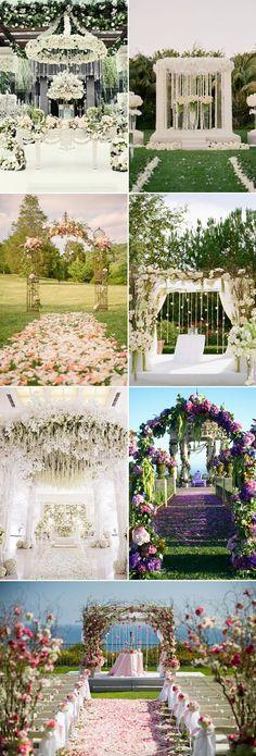 beautiful flowers inspired whimsical botanical wedding altar ideas