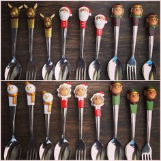 Christmas edition spoons forks and teaspoons by Bitstopieces, Forks, Spoons, Cutlery, Tableware, Christmas, Xmas, Bobby Pins, Dinnerware, Flatware