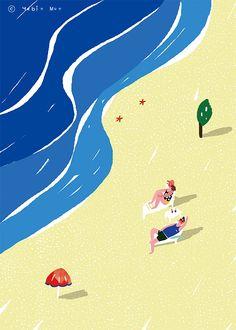 summer illust,beach,heat,a couple,sea