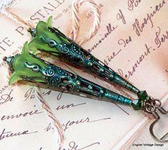 "Lucite Flower Earrings, ""Hemlock"", Drop Earrings, Victorian Earrings, Boho Earrings, Hand Painted, Dangle Earrings, Green Earrings, Gothic"
