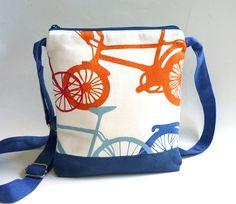 Bikes crossbody bag hip purse orange blue white cross body