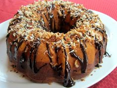 Toasted coconut chocolate marble pumpkin bundt cake