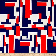 Liverpool Double Knit Geo Squares Blue/Red  from @fabricdotcom  This lightweight double knit fabric has a soft hand, crepe-like face and 30% stretch across the grain. It is perfect for jackets, dresses, and skirts. Colors include red, blue and white.