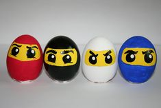 ninjago easter eggs painted by me (this was before the green ninja) Egg Crafts, Easter Crafts, Hoppy Easter, Easter Eggs, Ninja, Easter Egg Designs, Painted Rocks Kids, Plastic Eggs, Diy Ostern