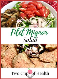 Filet Mignon Salad combines a decadent filet Mignon with peppery arugula, caramelized mushrooms, fresh tomatoes, shallots and tangy balsamic dressing. #twocupsofhealth and #easygourmetrecipes #FiletMignon Healthy Salad Recipes, Gourmet Recipes, Beef Recipes, Healthy Food, Creamy Salad Dressing, Balsamic Dressing, Delicious Dinner Recipes, Delicious Food, Filet Mignon