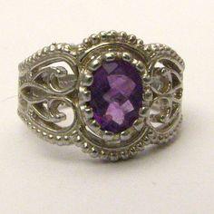 Handmade Sterling Silver Filigree Crown Amethyst Ring by JandSGems,