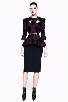 Alexander McQueen Pre-Fall 2012. Interestingly gothic, romantic take on a peplum and pencil skirt.