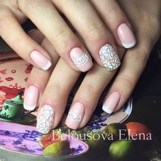 Delicate french manicure, Delicate wedding nails, Evening dress nails, Fashion nails 2016, Festive nails, Nails for wedding dress, Pattern nails, Romantic nails