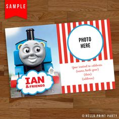 Personalized Thomas The Train Ticket Birthday Invitation Thomas - Birthday invitation card thomas and friends