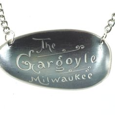 Milwaukee Gargoyle Necklace, Sterling Silver Spoon Jewelry, Milwaukee Wisconsin Necklace, Gargoyle Jewelry, Souvenir Spoon Pendant (P5661) by Spoonier on Etsy