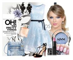 """""""Pretty in Blue"""" by s-del on Polyvore featuring Élitis, NYX, NARS Cosmetics, Valentino, Christian Louboutin, Art Addiction and Ann Taylor"""
