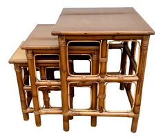 1960s Mid-Century Modern Rattan Nesting Tables - Set of 3 on Chairish.com