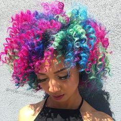 98 pastel and hidden rainbow hair color ideas Short Curly Hair, Curly Hair Styles, Natural Hair Styles, Hair Color Blue, Cool Hair Color, Creative Hairstyles, Cool Hairstyles, Rainbow Hairstyles, Hidden Rainbow Hair