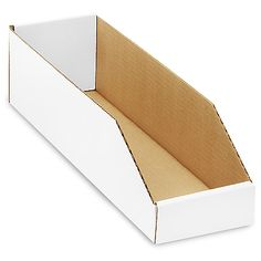 "White Corrugated Bin - 5 x 18 x 4 1⁄2"" / holds 1 wide, 12 deep (12 jbs) / 100x = $1.13 per box"