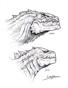 For the sequel, who wants to see the new Godzilla vs. GODZILLA Art created and shared by Tyler Lamph Art. Animal Sketches, Animal Drawings, Pencil Drawings, Art Sketches, All Godzilla Monsters, Godzilla Comics, Godzilla Godzilla, Dinosaur Sketch, Dinosaur Art