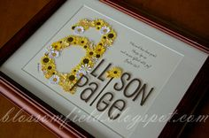 Love this idea! Flowers inside a picture frame for Allison Paige.