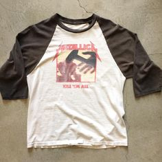 """90's Metallica raglan, measures 21"""" pit to pit and 27"""" collar to hem, $58+$8 domestic shipping. Call 415-796-2398 to purchase or PayPal afterlifeboutique@gmail.com and reference item in post."""