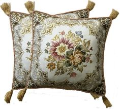 Aubusson Style 2 Cushionpillow Cover 18 Embroidered with Intricate Golden Threads 17F * More info could be found at the image url. (This is an Amazon Affiliate link and I receive a commission for the sales)