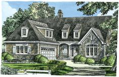 Design In Progress 1342: A two-story #Craftsman #cottage perfect for narrow lots. A large master suite is on the main floor, with a bedroom study offering flexible space. A #balcony is open to the great room and foyer below, leading to two bedrooms with bathrooms and an huge bonus room with dormer windows. See the floor plans here: http://houseplansblog.dongardner.com/house-plan-on-drawing-board-plan-1342/ this is it