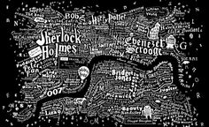 The literary map of London is just beautiful. More than 250 novels were mined in order to make the Literary London Map, taken from the Literary London Art Collection. It was created by graphic artist Dex in collaboration with interior designer Anna Burles Central London Map, Visual Thinking, Bob Books, Freebies, I Love Books, Plans, Illustrations, Book Lovers, Book Worms