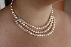 3 strand ivory pearl necklace with by AddSomeCharmBoutique on Etsy, $18.95