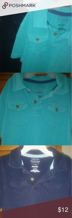 Boys 5/6 Sonoma Polo shirt with pockets 2 blu/aqu 2 Boys 5/6 shirts collars and pockets with buttons blue and a Teal aqua Sonoma Tops Tees - Short Sleeve