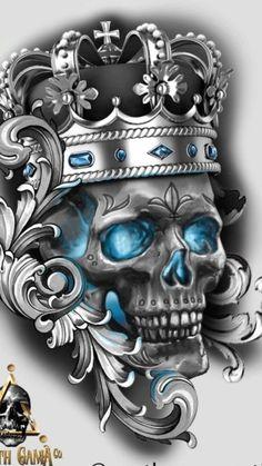 Tatto Skull, Skull Rose Tattoos, Skull Sleeve Tattoos, Tattoo Sleeve Designs, Tattoo Designs Men, Oni Tattoo, Medusa Tattoo Design, Crown Tattoo Design, Tattoo Design Drawings