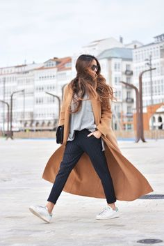 coat: Topshop via Zalando, pants: Bershka ( this season ), sweater: Zara ( last season ), sneakers:Adidas, bag: Celine Mode Outfits, Chic Outfits, Fashion Outfits, Fashion Fashion, Minimal Outfit, Minimal Fashion, Fall Winter Outfits, Autumn Winter Fashion, Camel Pants Outfit