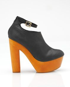 """Black leather wood platform by Messeca..... I so want these If I am 5'9"""" are 5.75"""" heels too high?"""