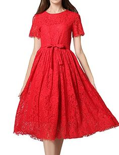 TrendProm Women's Scoop A Line Short Sleeves Lace with Sash Tea Length Dress Size Small US Red. Fabric:Lace. Scoop, A Line, Sash,Tea Length. The dress requires ironing before wearing. In order to make sure the dress fit you, please refer to the standard size chart displayed left below the picture. Hand Wash.