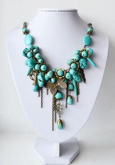 Mix Turquoise Beads Bib Necklace