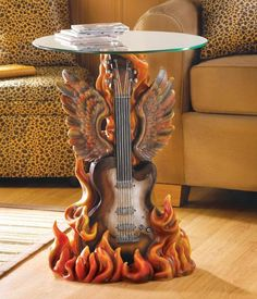 Hot Licks Rock n Roll Home Decor Accent Table with Tempered Glass Top ...
