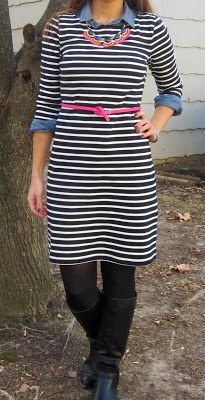 striped dress layered over chambray, fan fringe necklace