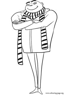 The super-villain Gru is in this coloring page. Have fun coloring the main character of the film Despicable Me.