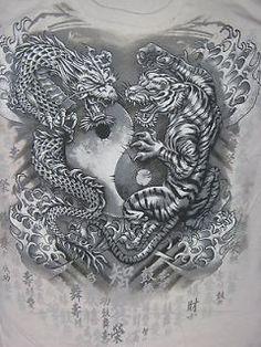 Resultado de imagen de tiger and dragon yin yang shirt white